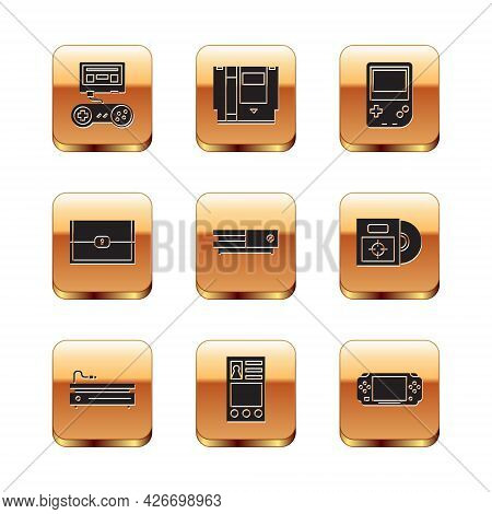 Set Game Console With Joystick, Video Game, Create Account Screen, Chest For, Portable Video, And Ca