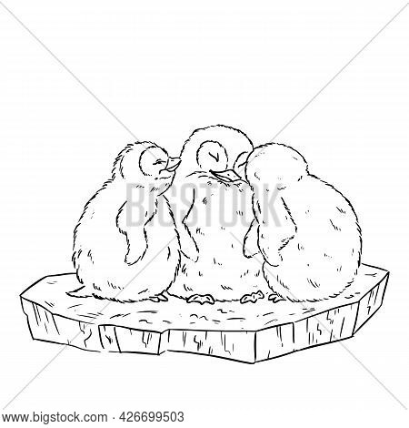Cartoon Illustration Of A Cute Three Baby Penguins On Ice Floe. Vector Stock Comic Style Image