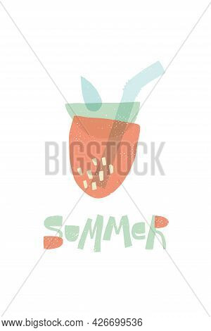 Strawberries Made From Geometric Shapes. Stylized Strawberry Cocktail. Summer Stylish Postcard