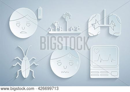 Set Man With Excessive Sweating, Lungs, Cockroach, Monitor Cardiogram, Mold And Fatigue Icon. Vector