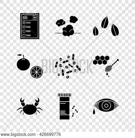 Set Clinical Record, Dust, Sesame Seeds, Crab, Medicine Bottle And Pills, Reddish Eye Allergic Conju