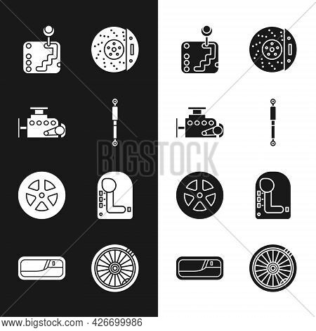 Set Shock Absorber, Car Engine, Gear Shifter, Brake Disk With Caliper, Wheel, And Door Handle Icon.