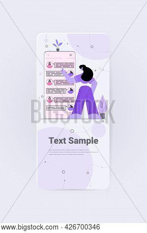 Women Chatting In Mobile Messenger App Social Media Network Online Communication Concept