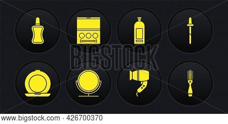 Set Makeup Powder With Mirror, Pipette, Round Makeup, Hair Dryer, Bottle Of Shampoo, Eye Shadow Pale
