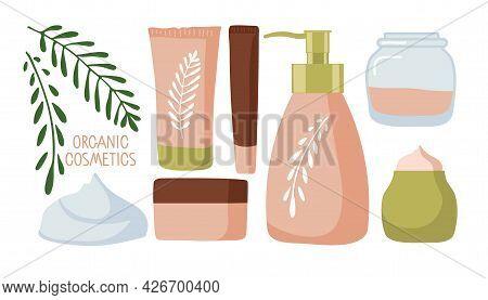 Organic Cosmetics. Beauty Set. Spa And Natural Cosmetic Elements. Cartoon Vector Illustration. Cream