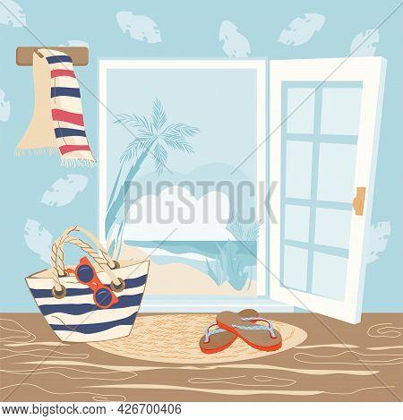 Door Open To Tropical Landscape Background. Banner With Summer Beach Line Look From House Doorway, F