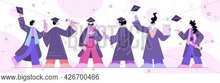 Graduated Students Standing Together Graduates Celebrating Academic Diploma Degree Education Univers