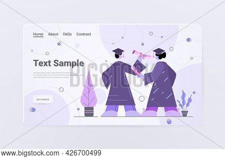 Graduated Students Couple Standing Together Graduates Celebrating Academic Diploma Degree Education