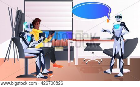 Businessman And Robots Discussing During Meeting Chat Bubble Communication Artificial Intelligence T