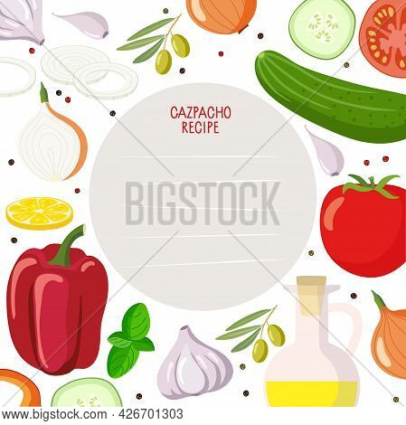 Cookbook Page Template. Recipe Card With Gaspacho Product Kit And Lines Vector Template. Background