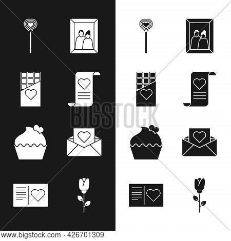 Set Envelope With Valentine Heart, Chocolate Bar, Lollipop, Picture Frame, Wedding Cake, Flower Rose