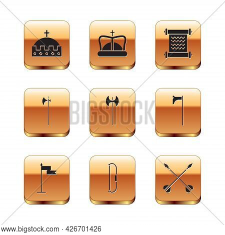 Set King Crown, Medieval Flag, Bow, Axe, Halberd, Decree, Parchment, Scroll, Crossed Arrows And Icon