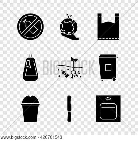 Set No Plastic Bottle, Hand Holding Earth Globe, Plastic Bag, Paper Glass Water, Disposable Knife, B