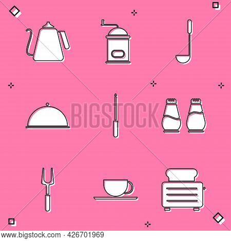 Set Kettle With Handle, Manual Coffee Grinder, Kitchen Ladle, Covered Tray, Knife Sharpener, Salt Pe