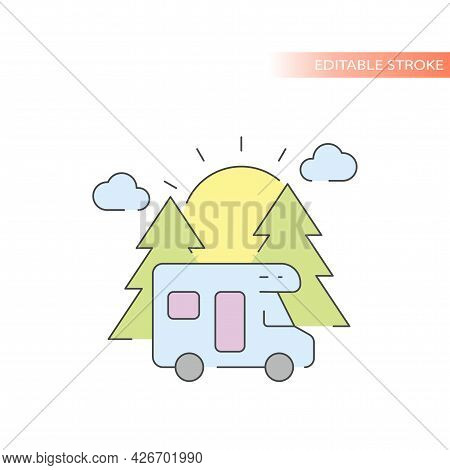 Camper Van With Trees And Sun Line Vector Icon. Camping Outline With Colorful Fill, Editable Stroke.