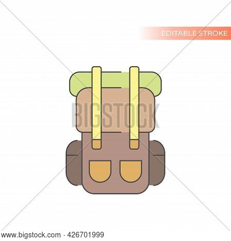 Trekking Bag Or Backpack Line Vector Icon. Colorful Fill And Editable Stroke.