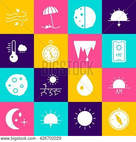 Set Compass, Sunrise, Weather Forecast, Eclipse Of Sun, Meteorology Thermometer, Wind And Icicle Ico