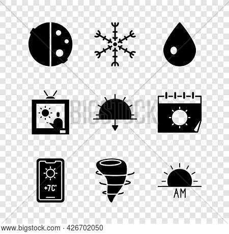 Set Eclipse Of The Sun, Snowflake, Water Drop, Weather Forecast, Tornado, Sunrise, And Sunset Icon.