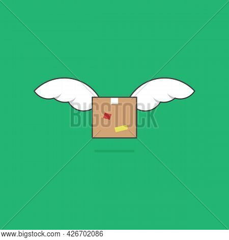 Fast Parcel Package Box Delivery Shipment Flying With Wing Simple Illustration