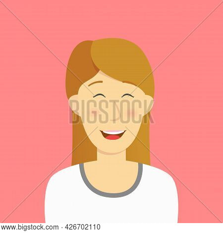 Happy Woman Pleased Humble Satisfied Long Hair Girl Concept Card Character Illustration