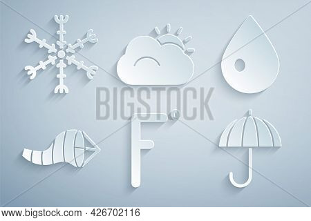 Set Fahrenheit, Water Drop, Cone Meteorology Windsock Wind Vane, Umbrella, Sun And Cloud And Snowfla