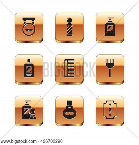 Set Barbershop, Shaving Gel Foam And Brush, Beard Mustaches Care Oil Bottle, Hairbrush, Bottle Of Sh