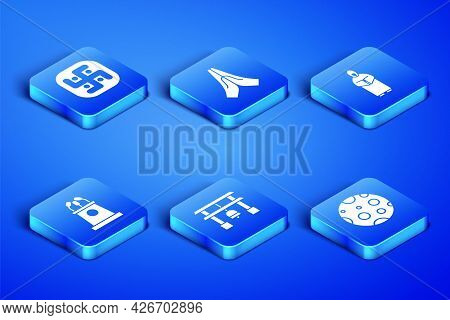 Set Moon, Jainism, Japan Gate, Stage Stand Or Tribune, Hands Praying Position And Monk Icon. Vector