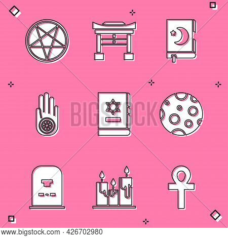 Set Pentagram In A Circle, Japan Gate, Holy Book Of Koran, Jainism Jain Dharma, Jewish Torah, Moon,