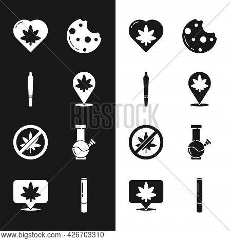 Set Location And Marijuana, Marijuana Joint, Leaf Heart, Cookies With, Stop Or Cannabis, Glass Bong