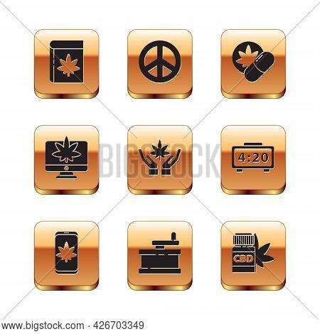 Set Book And Marijuana Or Cannabis, Mobile, Manual Grinder, Marijuana Leaf, Monitor, Herbal Ecstasy