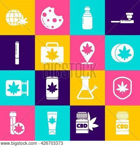 Set Medical Bottle With Cannabis, Shield And Marijuana Leaf, Herbal Ecstasy Tablets, Marijuana Or Ol