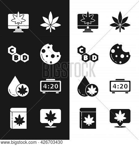 Set Cookies With Marijuana, Cannabis Molecule, Monitor And Or Cannabis, Marijuana Leaf, Olive Oil, D