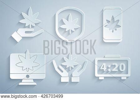 Set Marijuana Or Cannabis Leaf, Mobile And Marijuana, Monitor, Digital Alarm Clock, Shield And Icon.