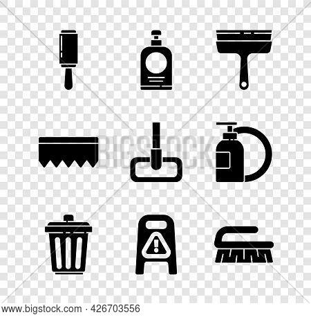 Set Adhesive Roller, Hand Sanitizer Bottle, Rubber Cleaner For Windows, Trash Can, Wet Floor Cleanin