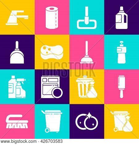Set Trash Can And Garbage Bag, Adhesive Roller, Dishwashing Liquid Bottle, Mop, Sponge, Dustpan, Wat