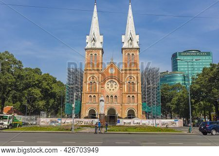 Ho Chi Minh, Vietnam - Oct 17, 2019 : Notre Dame Cathedral Of Saigon In Ho Chi Minh City, Vietnam On