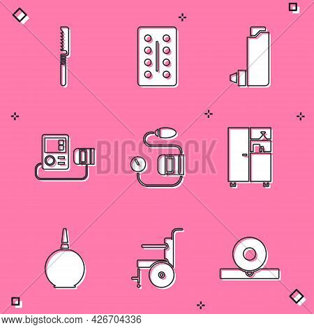 Set Medical Saw, Pills In Blister Pack, Inhaler, Blood Pressure, Medicine Cabinet, Enema And Wheelch