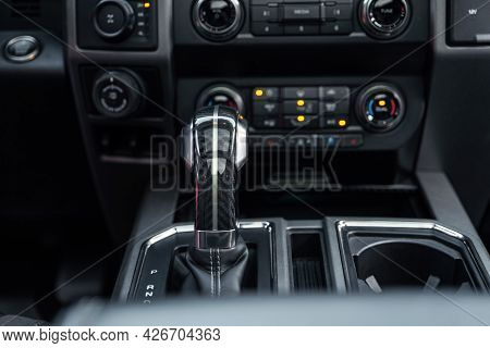 Luxury Car Interior. Control Panel, Radio System, Shift Lever. Automatic Transmission Gearshift Stic