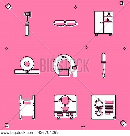 Set Medical Otoscope Tool, Safety Goggle Glasses, Medicine Cabinet, Otolaryngological Head Reflector