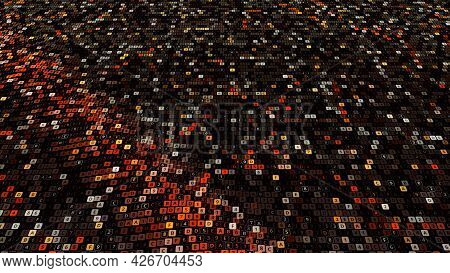 Abstract Computer Code Animation On Black Background, Seamless Loop. Animation. Waving Canvas Of Sma