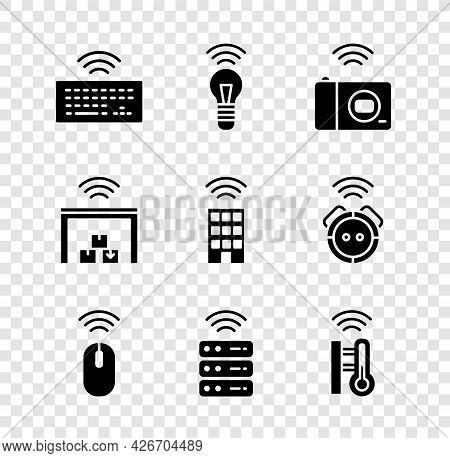 Set Wireless Keyboard, Smart Light Bulb, Photo Camera, Mouse, Server, Thermometer, Warehouse And Hom