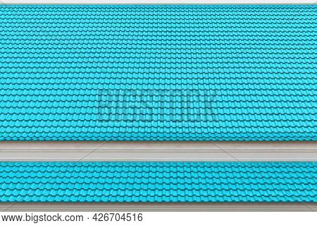Blue Galvanized House Roof Pattern And Background Seamless