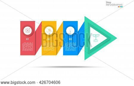 Step Infographic Vector In Arrow Template With 3 Steps.eps10 Vector.business Icon On Step Buttons.(d