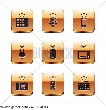 Set Wireless Tablet, Smart Photo Camera, Stereo Speaker, Smartphone, Electric Plug, Radio And Traffi