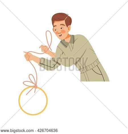 Freckled Man Photographer In Overall Retouching Photograph With Lasso Tool Vector Illustration
