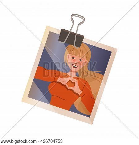 Happy Woman Face Showing Heart Gesture On Photograph Hold By Binder Clip Vector Illustration