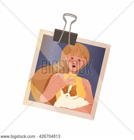 Happy Woman Face Showing Stroking Dog On Photograph Hold By Binder Clip Vector Illustration