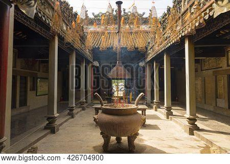 Interior View Of Chua Ba Thien Hau Temple In Ho Chi Minh City, Vietnam.
