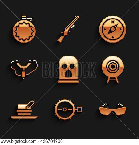 Set Balaclava, Trap Hunting, Glasses, Target Sport, Hunter Hat With Feather, Slingshot, Compass And