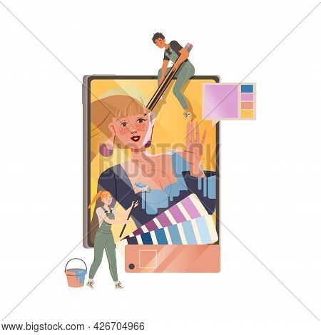 Man And Woman In Overall Retouching And Editing Photograph With Paint And Pencil Vector Illustration